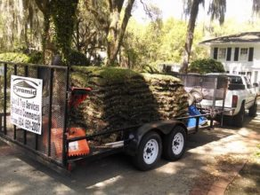 Truck loaded with sod palets for a sod installation in Ponte Vedra Beach, FL
