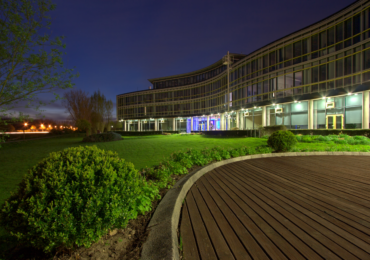 Landscape of a business park at night